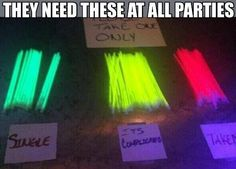 Green for single, yellow for its complicated and red for taken. Every party should have these!