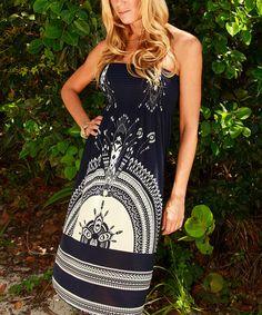 Loving this Navy Tapestry Smocked Strapless Dress on #zulily! #zulilyfinds
