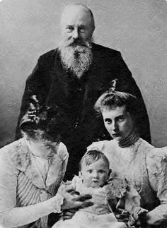 Four generations: Grand Duke Mikhail Nikolaievich of Russia (1832-1909), his daughter Grand Duchess Anastasia of Mecklenburg-Schwerin (1860-1922), his grand-daughter Princess Alexandrine of Denmark (1879-1952), and his grandson Prince Frederik of Denmark (1899–1972)