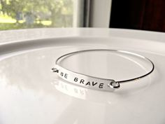 Be Brave, Divergent inspired.  Personalized Hand Stamped Bangle Bracelet. Customize your own bracelet.