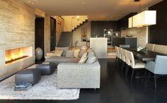 moderne wohnzimmer mit offener kuche einrichtungsideen fr, Deko ideen