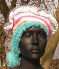 Mega White & Baby Fuzzy Blue Crochet Hat... by FunkyMagicalHats, $80.00