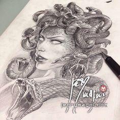 Jerry Magni Tattoo Artist - Bergamo | MEDUSA (preliminary drawing)