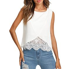 Cheap casual tanks, Buy Quality plain vest directly from China top women Suppliers: Sheinside Lace Insert Wrap Front Top Women White Round Neck Wrap Plain Vest 2018 Summer Regular Fit Sleeveless Casual Tank Umgestaltete Shirts, Tank Top Damen, Wrap Front Top, Zara Tops, Shirt Bluse, Lace Outfit, Lace Insert, Summer Tops, Casual Summer
