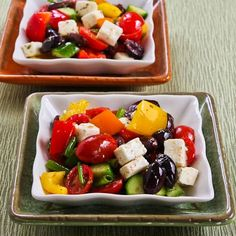 Kalyn's Kitchen®: Recipe for Chopped Greek-Style Salad with Red, Yellow, and Orange Bell Pepper. Use homemade dressing and eliminate cheese for GAPS