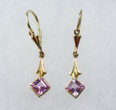 Vintage 18k Gold Earrings Pink Stone Earrings by BelmarJewelers