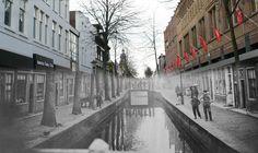 De Laat in Alkmaar, eind 19de eeuw, met nog niet gedempte gracht.