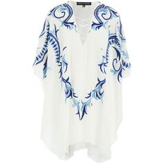 Melissa Odabash Embroidered Silk Kaftan (5,345 AED) ❤ liked on Polyvore featuring tops, tunics, white, white silk top, white top, v-neck tunic, silk kaftan and lace up top