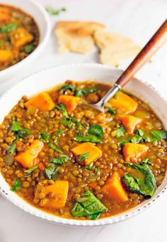 Moroccan Sweet Potato Lentil Stew - Monkey and Me Kitchen Adventures Plant Based Recipes, Veggie Recipes, Indian Food Recipes, Soup Recipes, Whole Food Recipes, Dinner Recipes, Cooking Recipes, Healthy Recipes, Ethnic Recipes