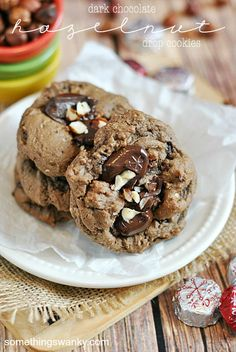 Dove Dark Chocolate and Hazelnut Cookies | www.somethingswanky.com