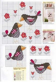 Cross-stitch Country Crows...   Punto de Cruz GRATIS: Manteles