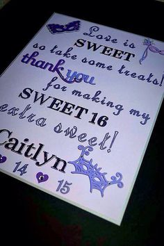 Sweet Sixteen Candy Bar Sign / Sweet 16 Sign / by TwinPerfection2