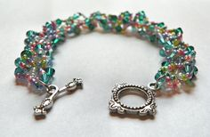 Beadwork Bracelet   Pink and Green Seed Bead by DuMoments on Etsy