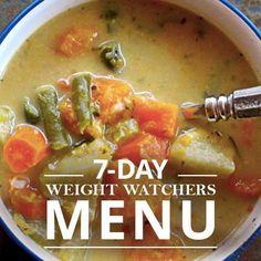 7 Day Weight Watchers Menu #7daymenu #weightwatchers #menuplanning