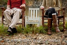 engagement announcement with two rockers and down the road a baby announcement with 3 rocking chairs
