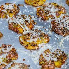 Roasted Smashed Potatoes With Garlic And Parmesan - Recipe Video   Blondelish