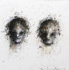 Deux visages - Portrait - 100x100 - HANNA SIDOROWICZ Technique mixte. Papier marouflé sur toile.