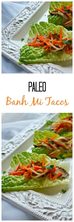Banh Mi Tacos: Tender strips of perfectly seasoned pork tenderloin are wrapped in lettuce and topped with pickled veggies for a hand-held…