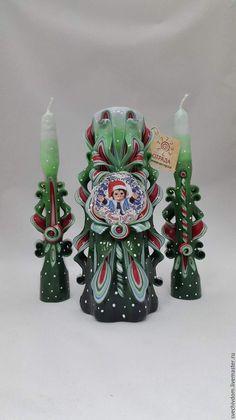 Купить Подарочный набор. - зеленый, ярмарка мастеров, свечи ручной работы, Свечи, резные свечи