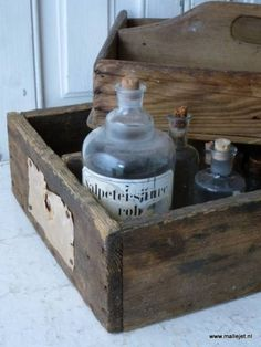. Wooden Case, Bottles And Jars, Tins, Organizers, French Vintage, Crates, Baskets, Planters, Boxes