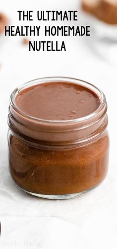 Learn how to make this healthy homemade Nutella from scratch! Only 4 ingredients & no dairy, oil or sugar! So easy to make & tastes exactly like the original! Low Carb Chicken Recipes, Healthy Low Carb Recipes, Healthy Sugar, Healthy Baking, Healthy Food, Homemade Nutella Recipes, Healthy Nutella Recipes, Nutella Vegan, Chocolate Recipes