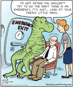 CartoonStock - 'I'm not saying you wouldn't try to do the right thing in an emergency, it's just. look at your freaky little arms. Political Cartoons, Funny Cartoons, Funny Comics, Jurassic World Dinosaurs, Jurassic Park, T Rex Humor, Laugh Track, Super Funny Quotes, Humorous Quotes