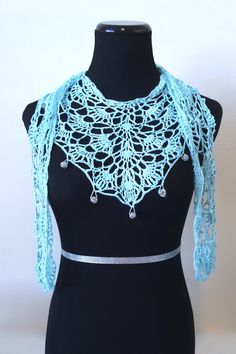 Diy Crafts - Caribbean Turquoise Necklace Scarf FREE Crochet Pattern by Kristin Omdahl This gorgeous scarf is a great way to practice shaping in a st Crochet Lace Scarf, Crochet Vest Pattern, Crochet Scarves, Easy Crochet, Crochet Clothes, Free Crochet, Knit Crochet, Crochet Necklace, Crochet Patterns