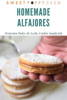 Melt-in-your-mouth cookies with dulce de leche sandwiched in the middle! Your next favorite cookie! Easy No Bake Desserts, Healthy Desserts, Delicious Desserts, Dessert Recipes, Healthy Living Recipes, Real Food Recipes, Fall Recipes, Vegetarian Recipes, Pavlova