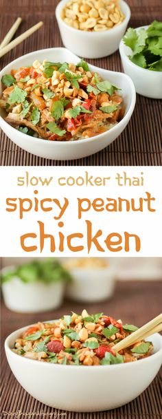 Slow Cooker Thai Spicy Peanut Chicken | DizzyBusyandHungry.com - Make this tasty and flavorful Thai-style dish right in your crockpot. So easy and delicious!