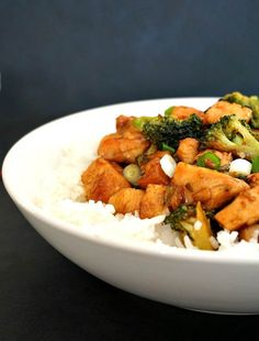 Chicken with broccoli stir fry and rice