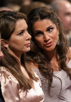 Rania Al Abdullah and her sister-in-law Princess Haya Bint Al Hussein Photo - Salute Petra: Luciano Pavarotti Memorial Concert