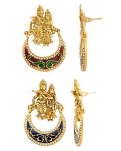 Combo of Radha-Krishna Hoop Earrings |  Buy Designer & Fashion Earrings Combos Online