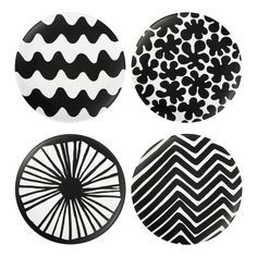 Signature artwork meets savvy dining style with the Marimekko for Target Salad Plates 4 ct. in the Black color theme. Four of our favorite Marimekko for Target prints—Traktori, Appelsiini, Paprika and Lokki—play together beautifully in simple black and white. These plates have a matte finish with solid color on the back.<br><br>Simple and spirited, Marimekko infuses its authentic Nordic sensibility and iconic prints into a signature collection of fashion and home pieces. Splashed...