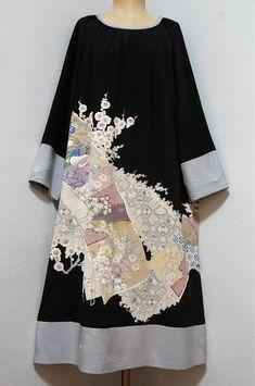 着物リメイク ワンピース 黒留袖×ブルーグレー色 鳥 花柄(ヤフオク! )は51件の入札を集めて、2018/03/12 21:51に落札されました。 Orientation Outfit, Anniversary Dress, Cute Kimonos, Japanese Costume, Japanese Outfits, Kimono Dress, Outerwear Women, Sewing Clothes, Boho Outfits