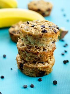 Banana Chocolate Chip Baked Oatmeal Muffins