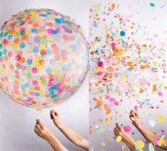 The confetti balloon is a giant balloon that is filled with confetti so that once you pop it, confetti explodes out of it. I want the black one!!!!