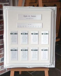 Framed Wedding Table And Seating Plans Perhaps With Just Gl No Backing Or Lace