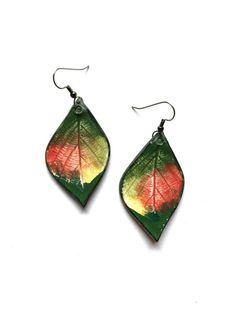 Medium-Large Autumnal Ceramic Leaf Earrings by AlainaSheenDesigns