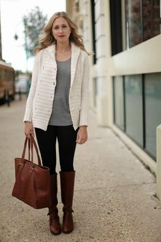 winter white cardigan / grey / black denim / cognac boots + bag / outfit