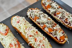 fast meal for busy nights: French bread pizzas + links to recipes--white pizza, buffalo chicken pizza, BBQ chicken pizza, chicken-bacon-spinach pizza, roasted veggie with goat cheese pizza  {How Sweet Eats}