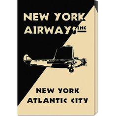 Big Co. Retro Travel 'New York Airways Inc' Stretched Art