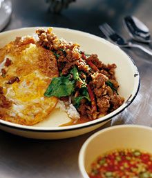 STIR-FRIED MINCED BEEF WITH CHILLIES AND HOLY BASIL (NEUA PAT BAI GRAPAO)