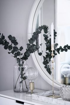 marble tray | eucalyptus | white and silver | console table decor | entryway ideas | luxe entryway