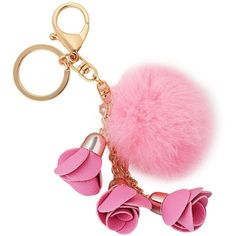 Amazon.com: Creative Fashion Handmade Alloy Lobster Clasp 3 Flowers... ($27) ❤ liked on Polyvore featuring accessories, key chain rings, ring key chain, fur key chain and fur key ring