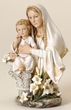 """Our Lady of Fatima With Children Statue. Amazing catholic religious figure that measures 12"""" Tall. Blessed Virgin Mary appeared for the first time to the three seers Francisco, Jacinta & Lucia at the"""