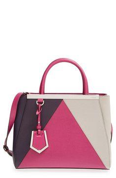 Fendi 'Petite 2Jours Colorblock' Leather Shopper