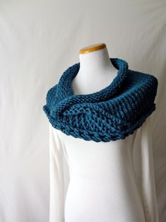 Merino Blue Cowl Handknit Statement Scarf by HanksAndNeedles, $55.00 on Etsy.... I would love to make something this beautiful.