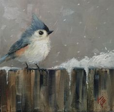 "Daily Paintworks - Original Fine Art © Krista Eaton : Daily Paintworks - ""Titmouse & Flurry"" - Original Fine Art for Sale - © Krista Eaton Bird Painting Acrylic, Watercolor Bird, Watercolor Paintings, Cave Painting, Pastel Paintings, Indian Paintings, Abstract Paintings, Landscape Paintings, Guache"