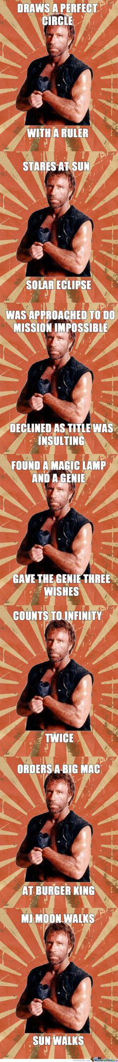 Chuck Norris by kriskiran - A Member of the Internet's Largest Humor Community Hilarious, Funny Shit, Funny Stuff, It's Funny, Funny Things, Funny Quotes, Life Quotes, Kevin Hart, Best Memes