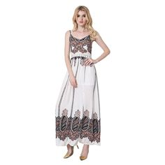 white Hollow Out Lace Spliced Print Slit Women Harness dress